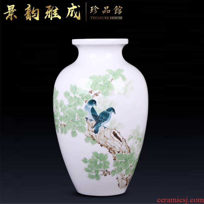 Jingdezhen ceramic flower arranging new Chinese style household porch decoration vase furnishing articles of I and contracted sitting room adornment