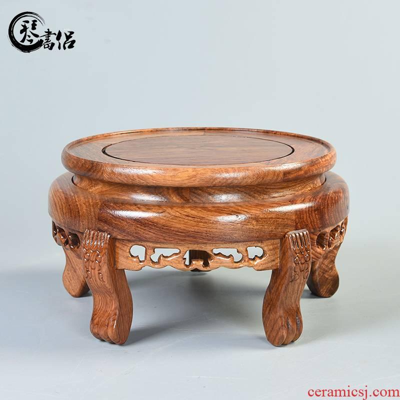 Pianology picking flowers miniascape base hua limu carved mahogany base rounded wood fish tank base vase base