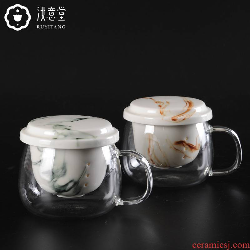Ms heat - resistant glass flower tea cups transparent glass filter glass ceramic tea cup cup home office