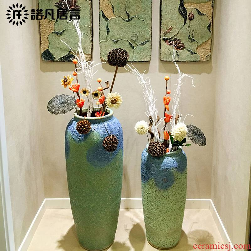 Large vase color glaze up modern European sitting room hotel villa furnishing articles flower decoration decoration