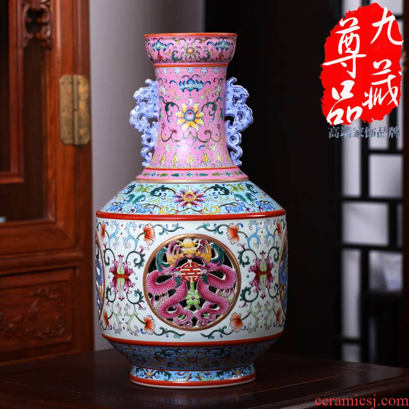 Jingdezhen ceramics imitation the qing qianlong pastel switch hollow - out the revolving vase household adornment handicraft furnishing articles