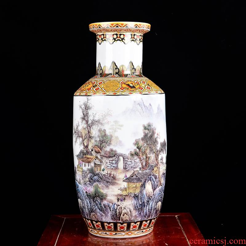 Jingdezhen ceramic large vases, flower arranging Chinese landscape painting home sitting room porch place large high decoration