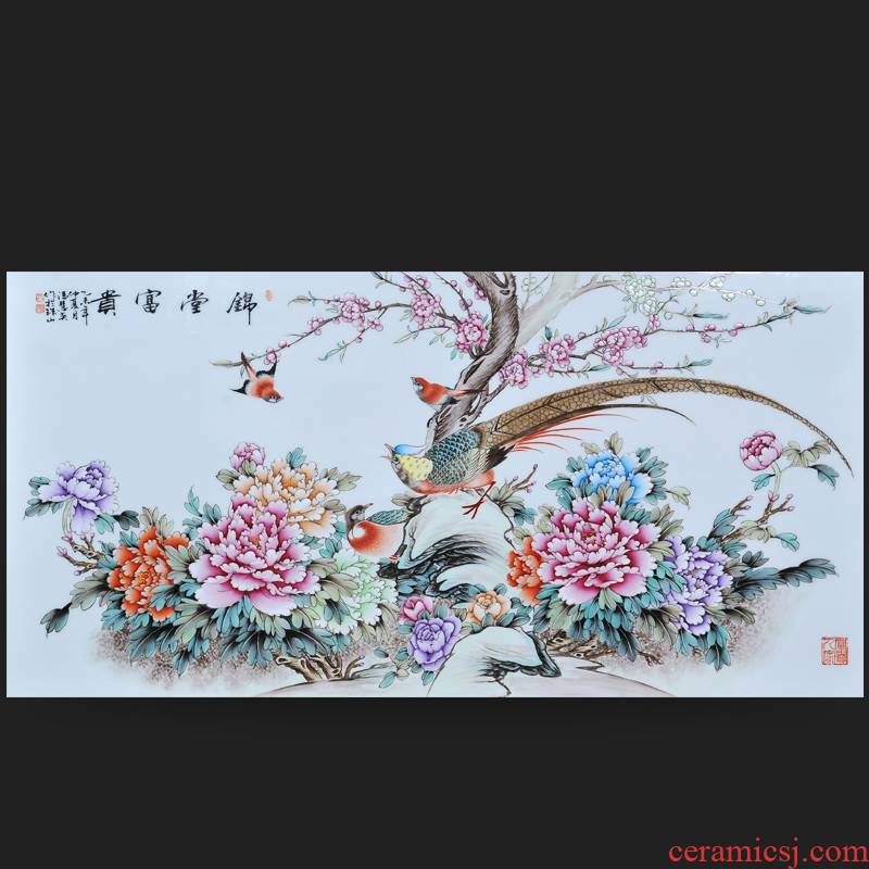 Jingdezhen ceramics Feng Huiying hand - made silk hall riches and honour porcelain plate painter adornment picture hanging in the sitting room is placed