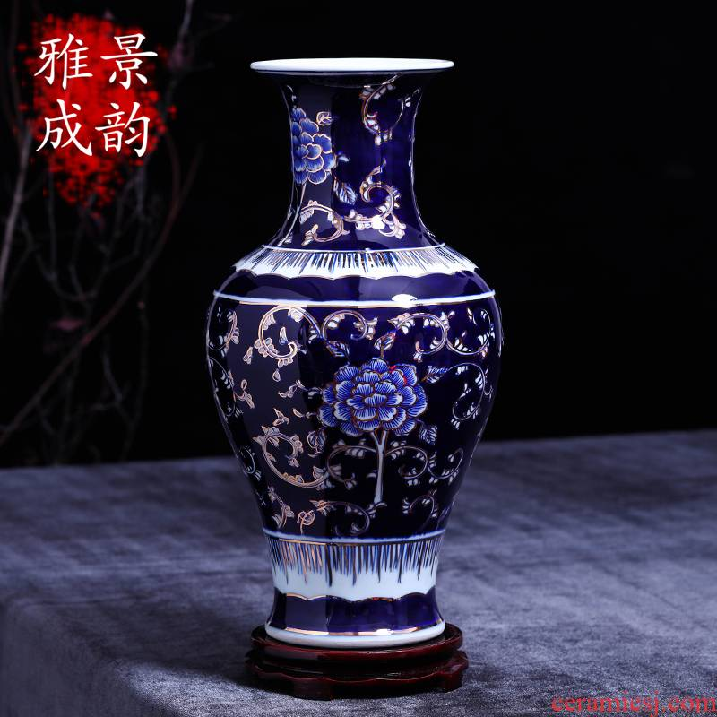 Jingdezhen ceramics sitting room ground vase large Chinese style restoring ancient ways of creative decorative furnishing articles porch is plugged into the vase