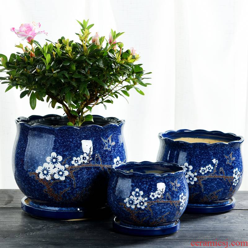Flowerpot ceramic large extra large clearance package mail with tray interior contracted Europe type creative Flowerpot more than other meat