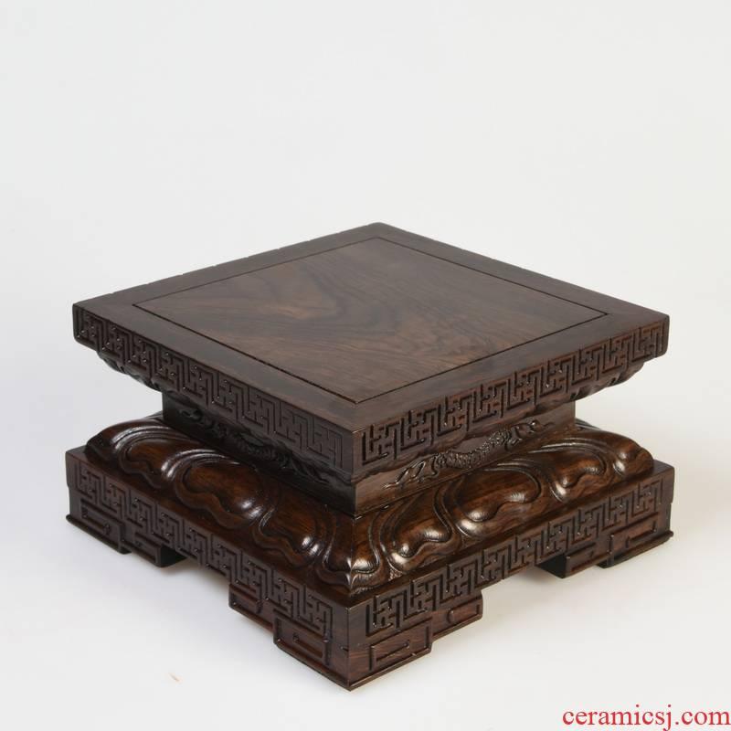 Ebony wood carving crafts, stone base of real wood of Buddha lotus pedestal base rectangular planter base