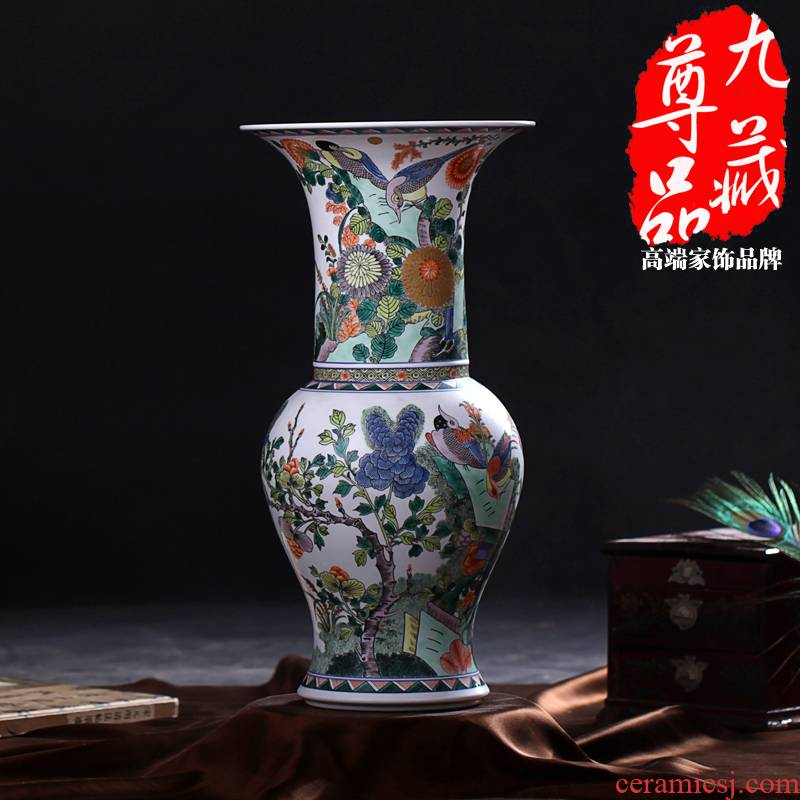 Jingdezhen ceramics imitation the qing emperor kangxi colorful golden pheasant grain PND unit tail - on statute of vases, antique household handicraft furnishing articles