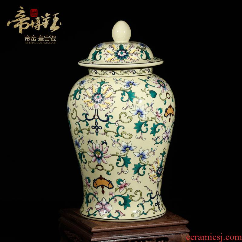 Modern Chinese jingdezhen ceramics high - grade hand - made yellow to the general tank furnishing articles town house, villa, desktop big living room