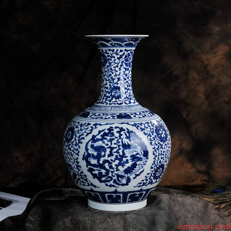Antique hand - made longfeng design of blue and white porcelain of jingdezhen ceramic vases, flower crafts sitting room adornment furnishing articles