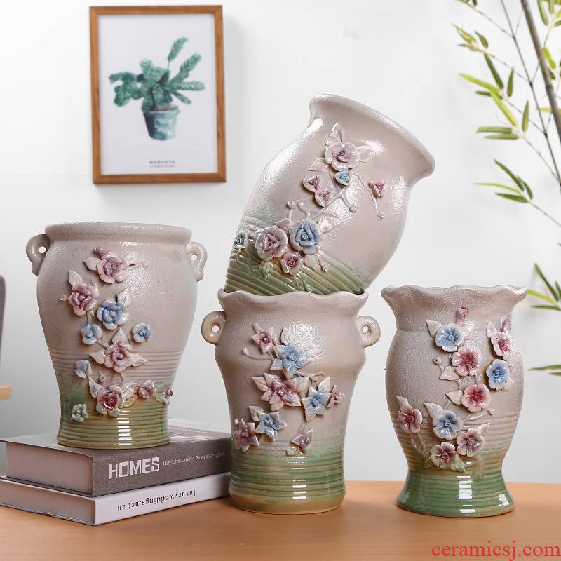 More meat ceramic flower pot high extra large model of the old running dry flower receptacle ceramic POTS contracted Europe type, move the vase