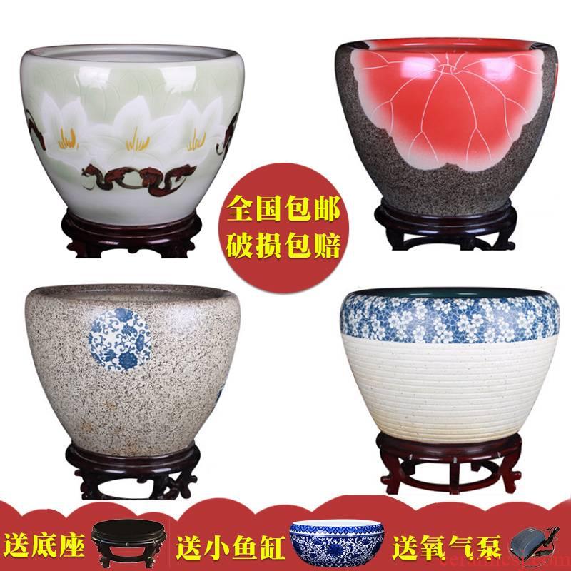 Jingdezhen ceramic aquariums turtle cylinder goldfish bowl large retro flower POTS bowl lotus lotus cylinder sitting room