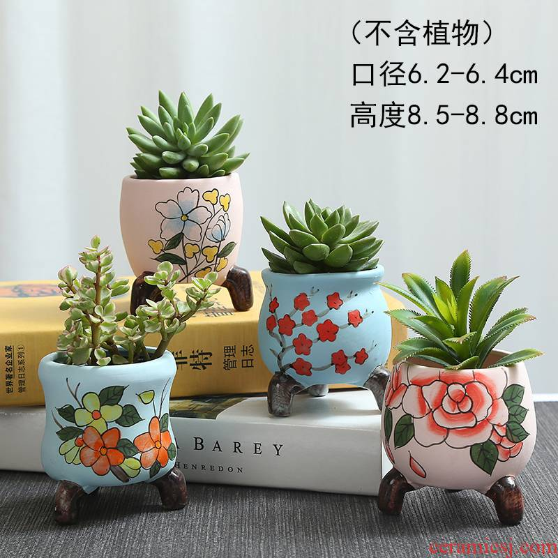 More meat basin of continental pinch flower old running the meat cooks, potted plant pot are large and colorful ceramics green plant POTS