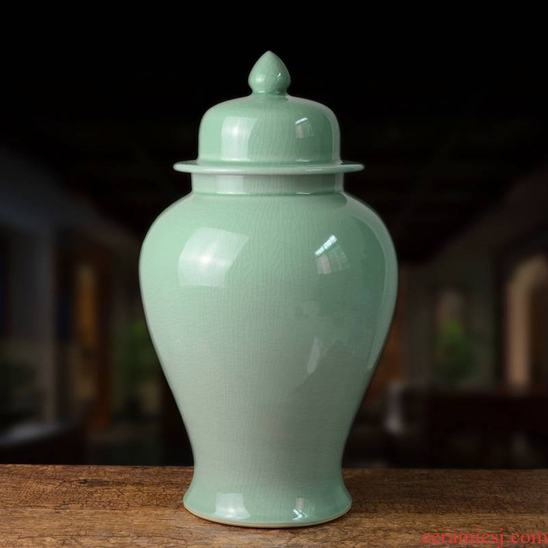Jingdezhen ceramic general furnishing articles celadon vase large jar of modern new Chinese style household act the role ofing is tasted handicraft sitting room