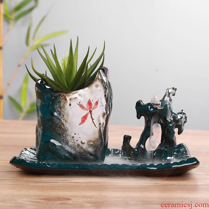 European green plant furnishing articles potted asparagus calamus basin of chlorophytum furnishing articles old running the ceramic vase ceramic flower POTS, fleshy