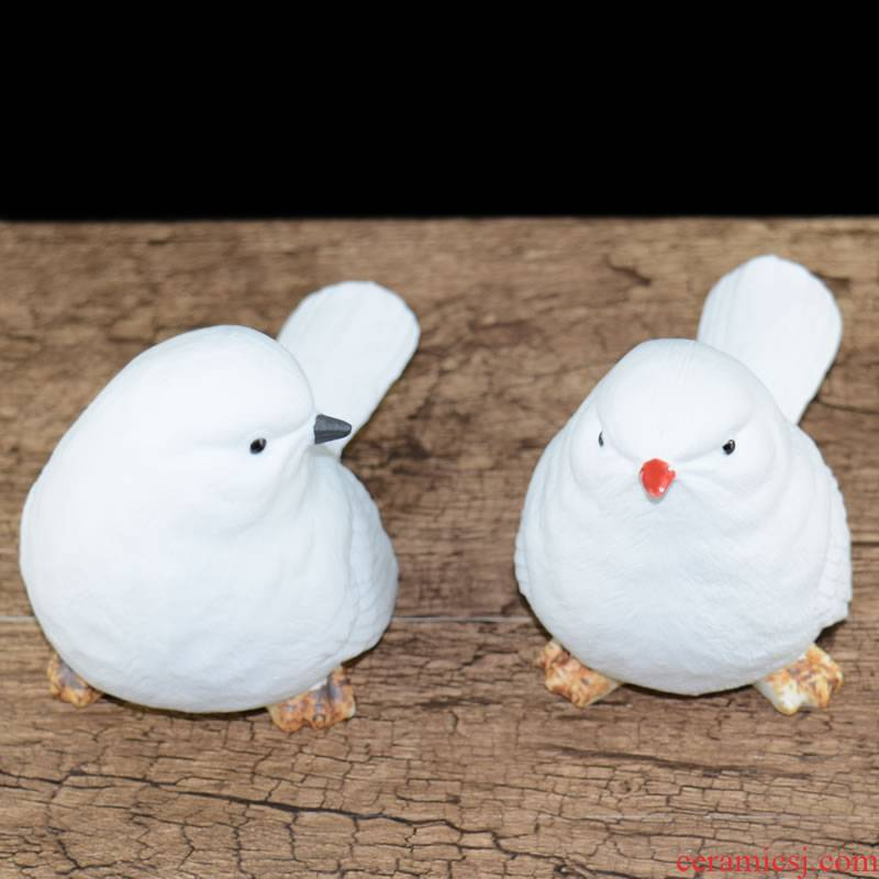 Jingdezhen ceramic animal furnishing articles white picking bird pay-per-tweet household act the role ofing is tasted creative arts and crafts gift sitting room