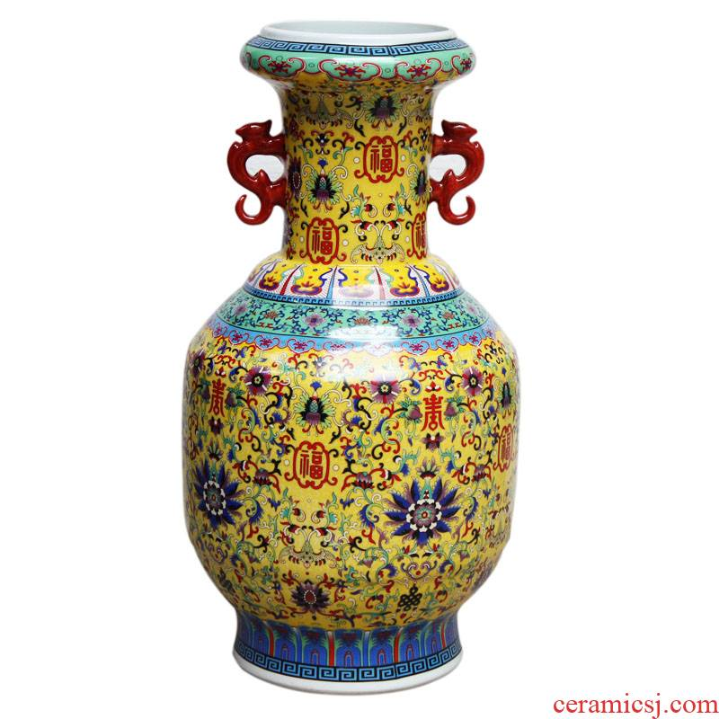 Jingdezhen ceramics high ear vase furnishing articles antique Chinese sitting room porch decoration large d167 landing