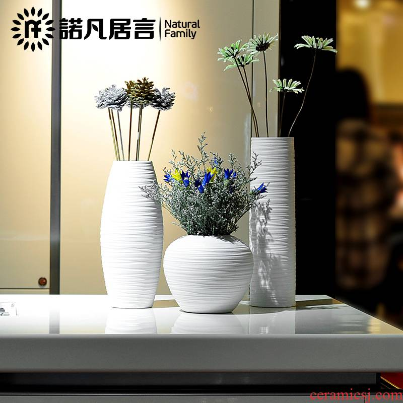 Novartis that yunnan dried flower adornment flowers I and contracted simulation suits for rural white jingdezhen ceramic vase