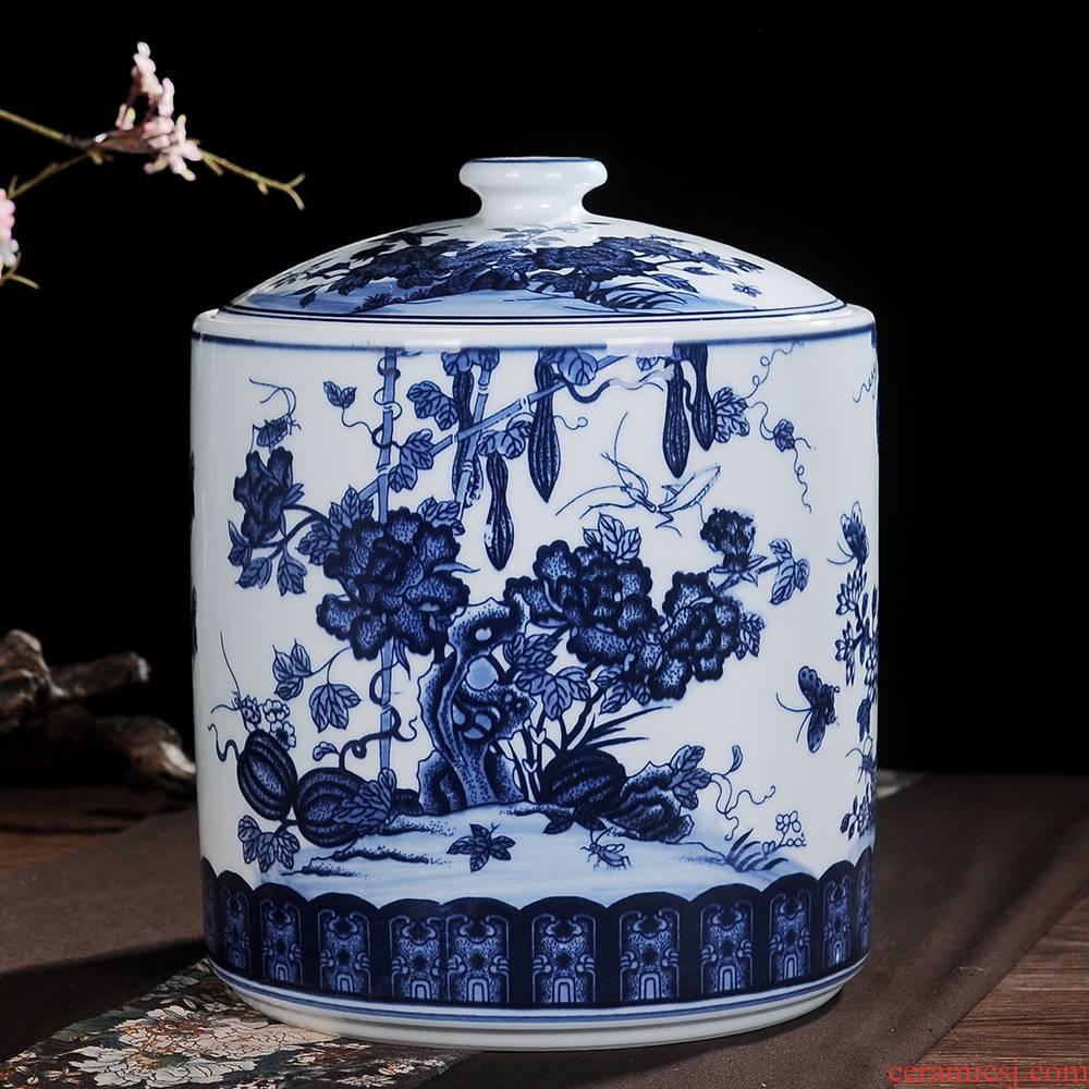 Jingdezhen ceramic furnishing articles to restore ancient ways of blue and white porcelain tea pot large pu 'er tea POTS storage tank receive a jar