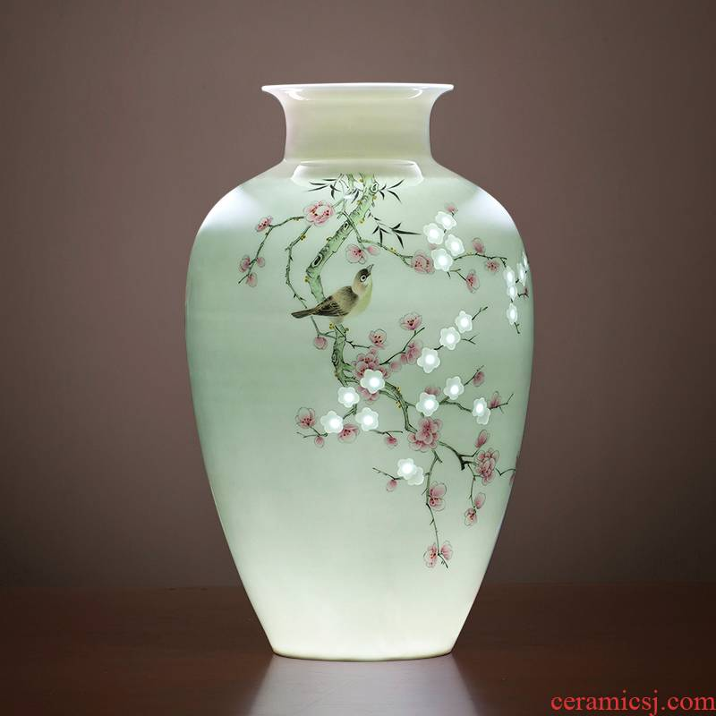 Jingdezhen ceramics vase Chinese famous flower arranging master hand draw powder enamel household the sitting room porch place