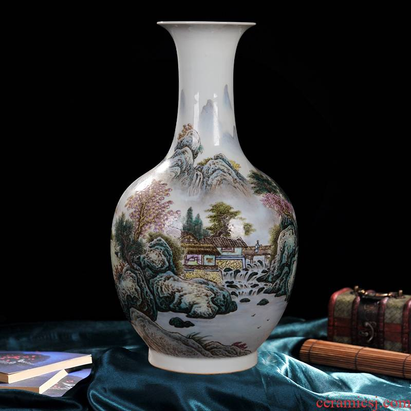 Jingdezhen ceramic vase high - end antique pastel design home decoration process antique collection furnishing articles