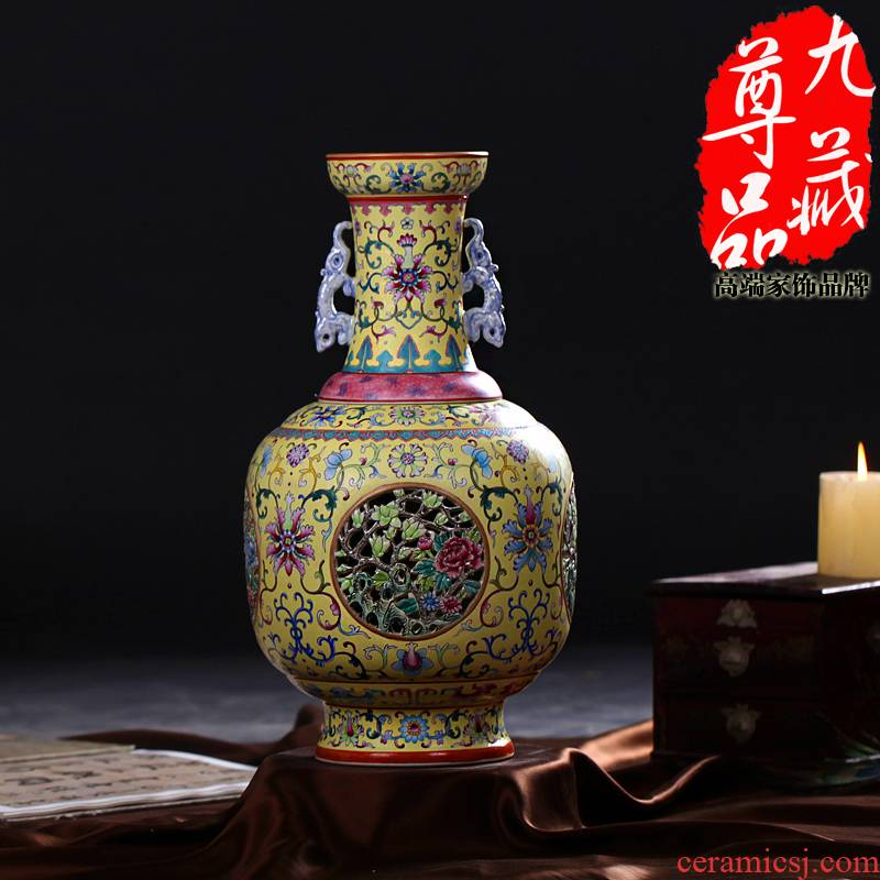 Jingdezhen ceramics imitation the qing qianlong pastel yellow medallion to hollow out the revolving vase household handicraft furnishing articles
