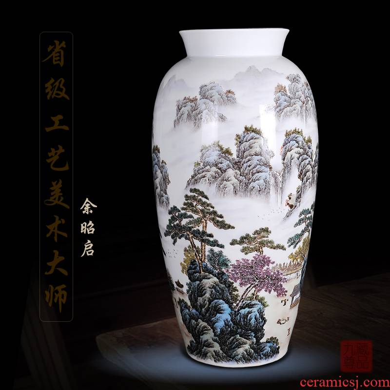 Jingdezhen ceramics Yu Zhao rev hand - made enamel vase khe sanh seclusion home sitting room handicraft furnishing articles