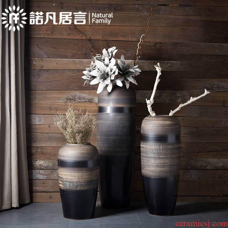 Ceramic floor big dried flower vase planting sitting room place hotel villa covers coarse pottery restoring ancient ways do old creative decoration