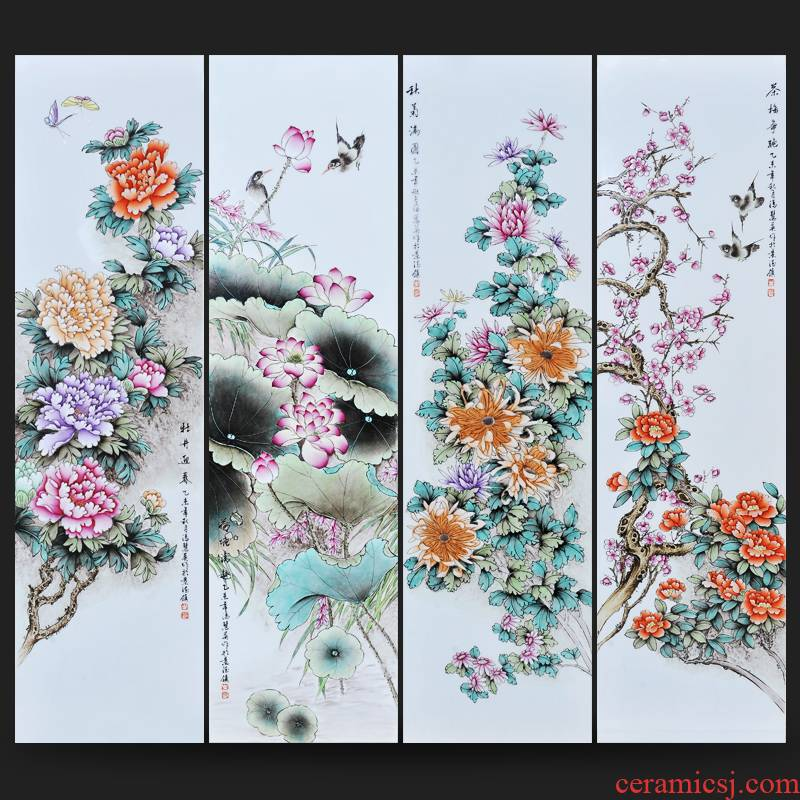 Jingdezhen ceramics Feng Huiying hand - made porcelain plate spring, summer, autumn and winter four screen painting the sitting room adornment household furnishing articles
