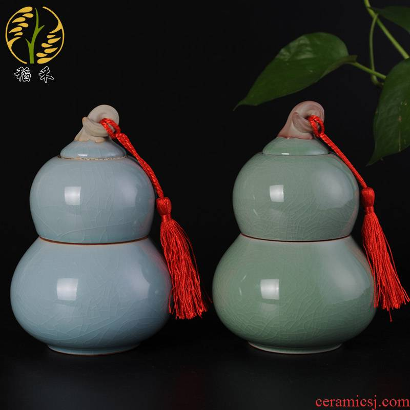 Rice grain ceramic handicrafts gourd practical home furnishing articles your porcelain tea pot storage tank is sealed as cans