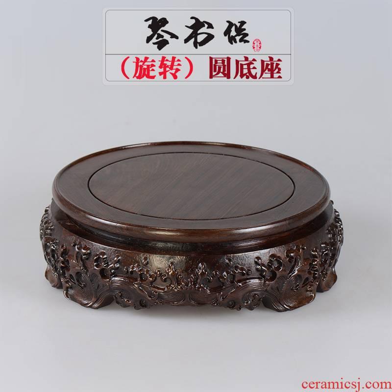 Ebony base circular tank vase base stone miniascape of Buddha base can rotate base solid wood
