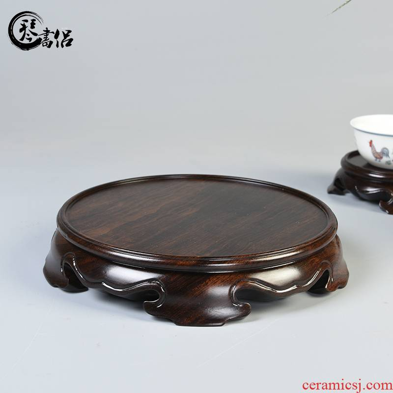 Ebony woodcarvings plate monolith circular base solid wood can be excavated base of vases, antique teapot censer base frame