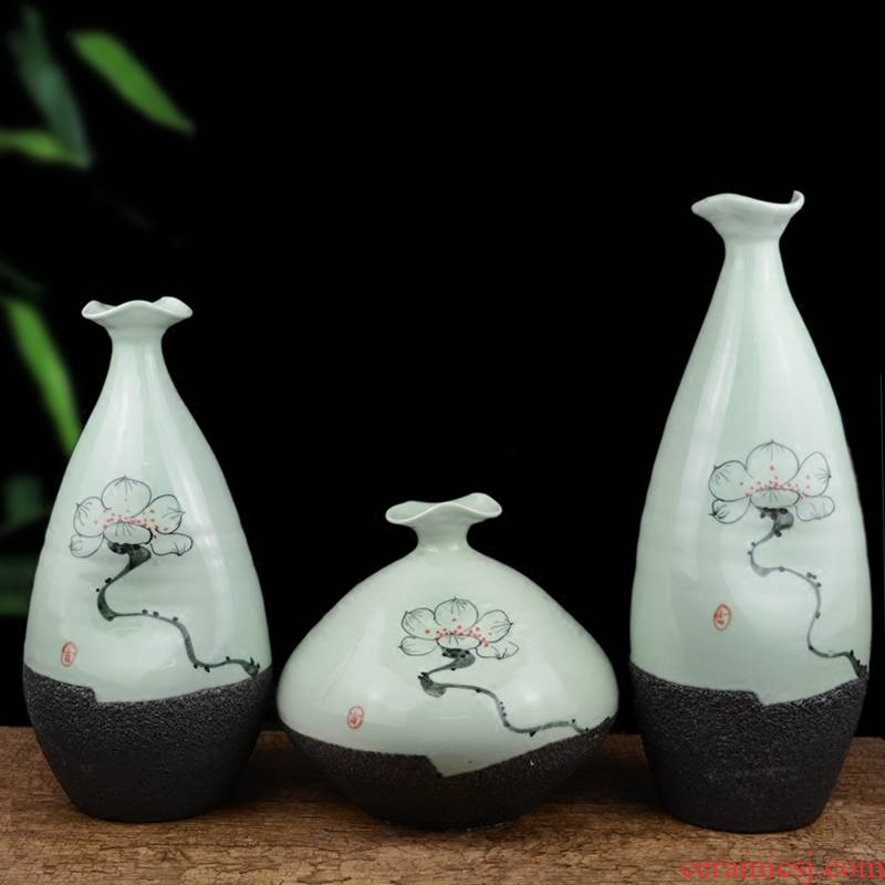 Jingdezhen ceramics creative manual zen vase Chinese style living room table home flower adornment furnishing articles