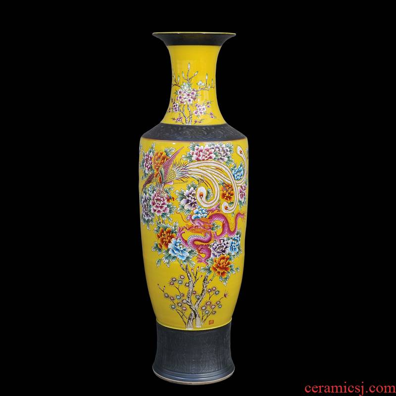 Jingdezhen ceramic vases, antique hand - made landing pastel yellow while the French vase furnishing articles