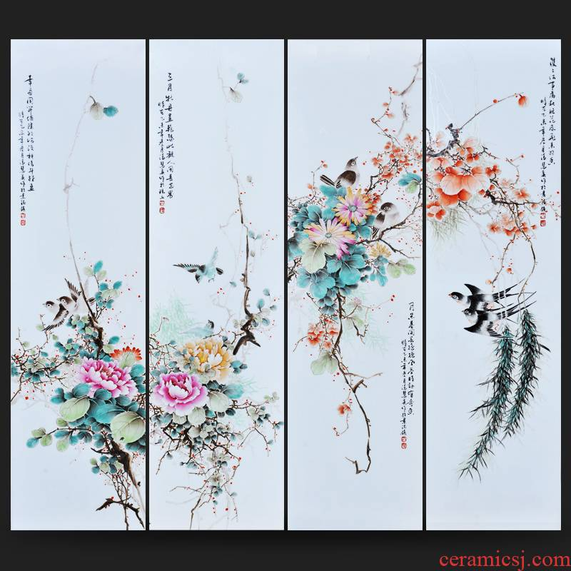 Jingdezhen ceramics Feng Huiying hand - made charactizing a fine spring day four screen porcelain plate painting the sitting room adornment household furnishing articles
