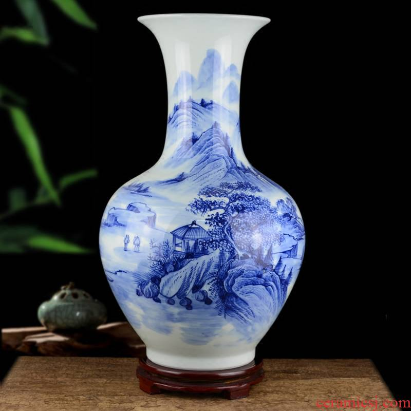 Jingdezhen ceramics hand - made sitting room be born Chinese landscape painting large blue and white porcelain vase decoration furnishing articles