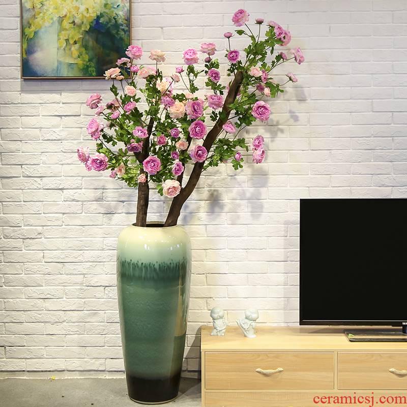 Jingdezhen ceramic vase of large sitting room decoration to the hotel villa flower flower implement simulation flower camellia flower art