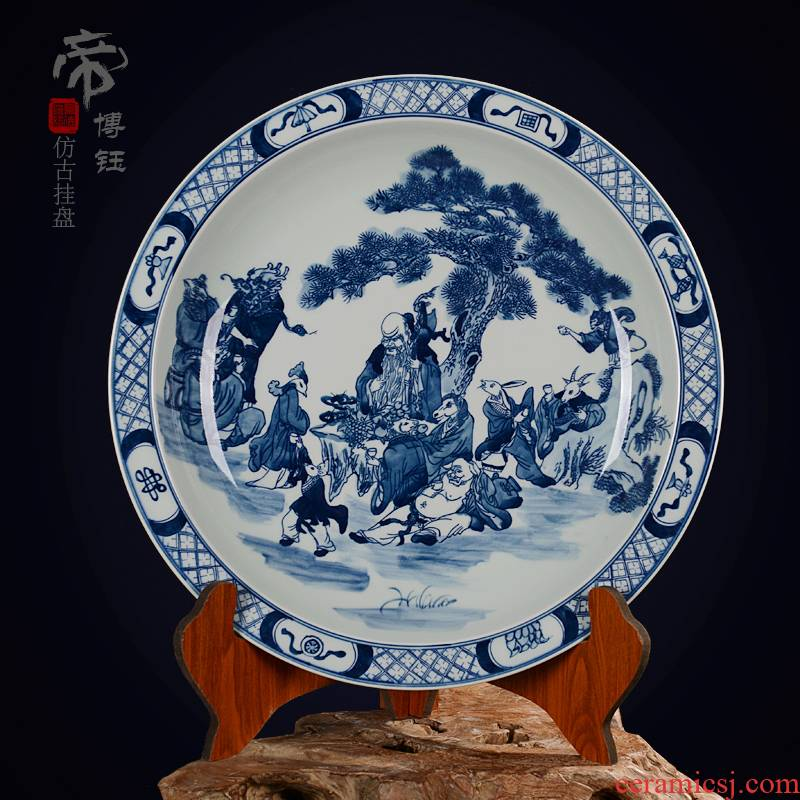 Jingdezhen ceramic decoration plate sit plate hanging dish hand - made antique blue - and - white porcelain handicraft furnishing articles zodiac chart