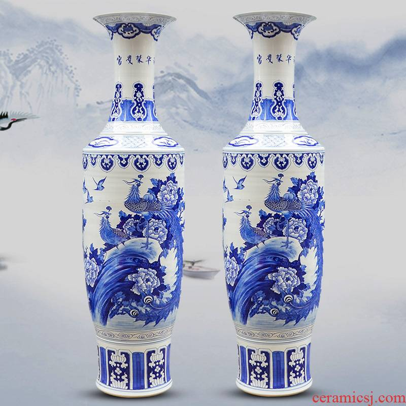 Hand of large blue and white vase sf50 jingdezhen ceramics riches restaurant decoration large living room