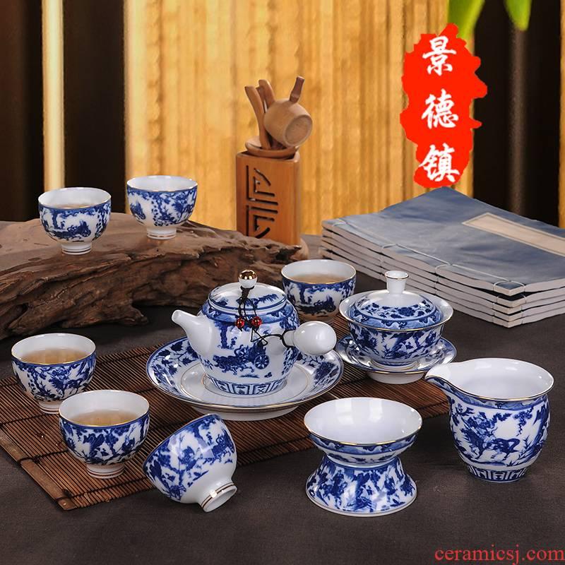 A complete set of kung fu tea set classic blue and white porcelain of jingdezhen ceramics tureen tea cup teapot gift boxes