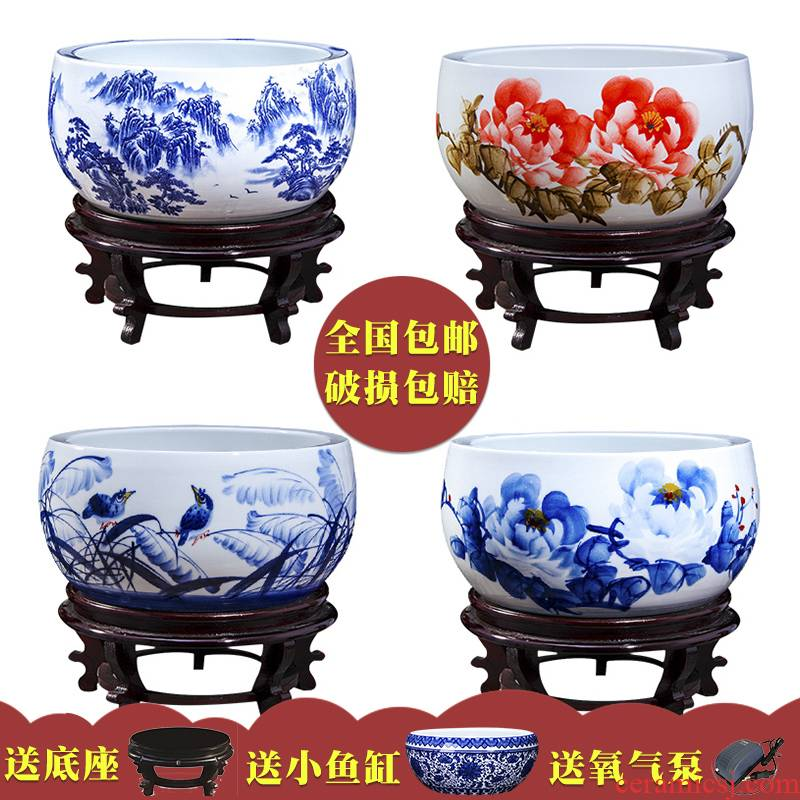Jingdezhen ceramic aquarium fish bowl lotus pond lily blue turtles cylinder bowl lotus lotus basin landscape