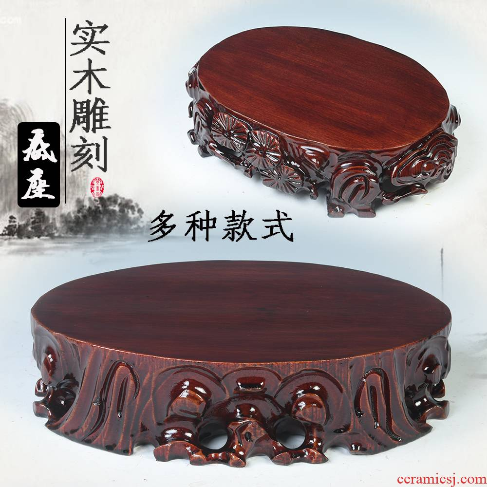 Stone base solid wood can be excavated wood gendiao flower miniascape base furnishing articles Stone base air base