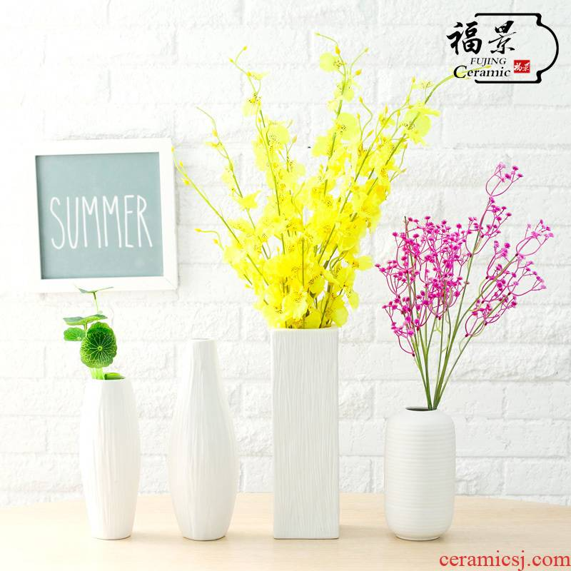 Coarse pottery white porcelain dried flowers all over the sky star vase contracted and I the white flower arranging home sitting room ceramic furnishing articles