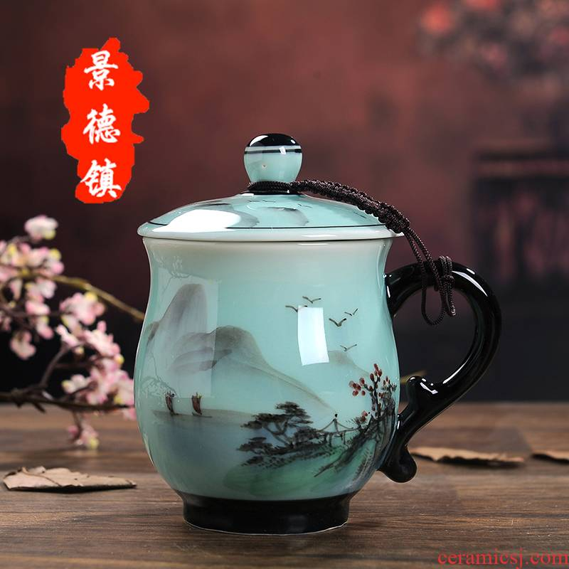 Jingdezhen ceramic cup with cover hand - made teacup home office and meeting the personal mark water in a cup gift set