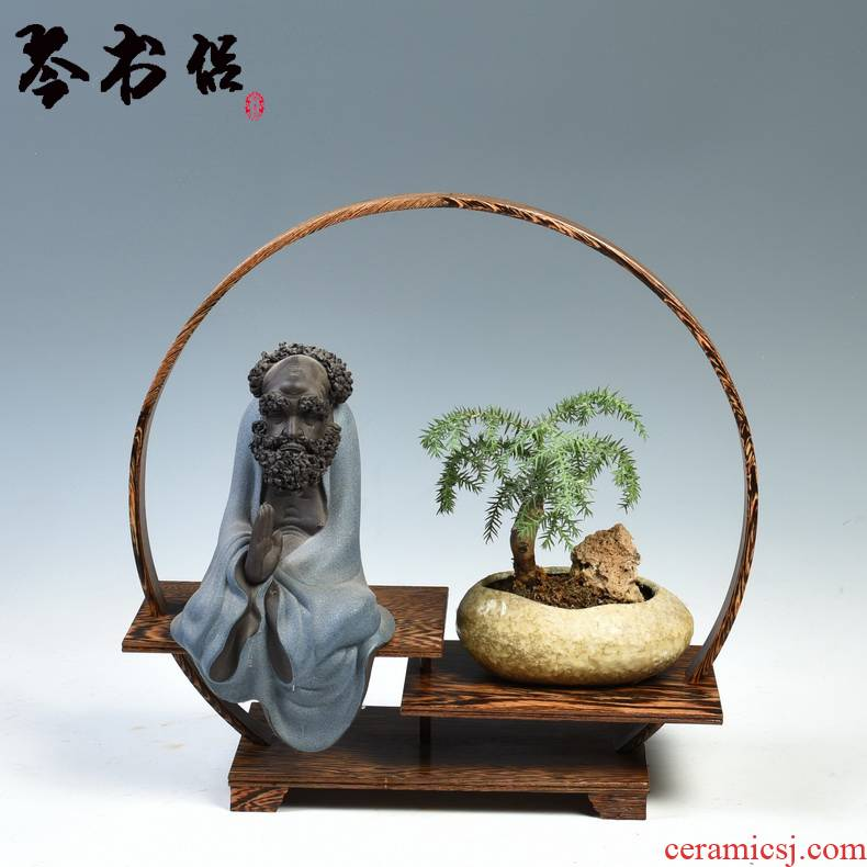 Frame round pot vase stone carved wooden handicrafts rich ancient Frame much treasure jade bonsai cups are it base