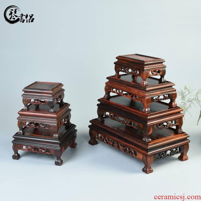 Rectangular solid wood handicraft mahogany base red acid branch base stone miniascape base place of Buddha base