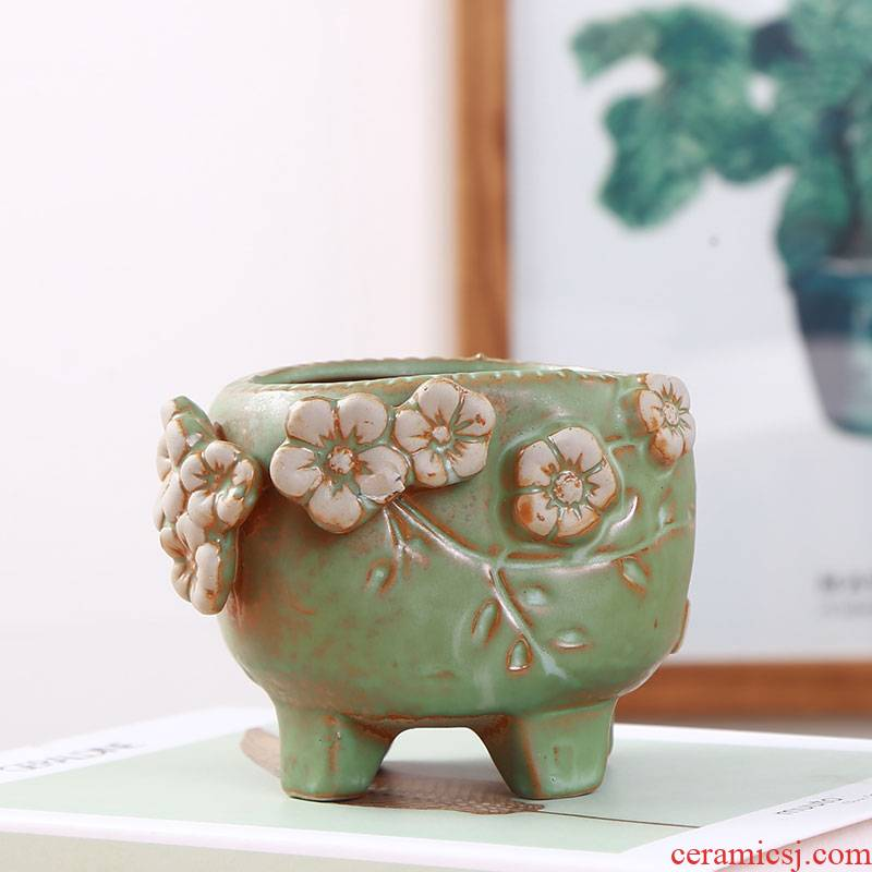 Biscuit firing coarse pottery meaty plant POTS ceramic European contracted purple fleshy old green the plants potted flower pot vase
