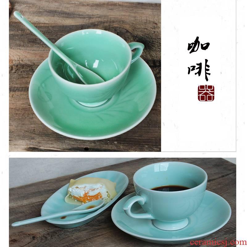 Oujiang longquan celadon coffee cup red cup European cup dish of fine ceramic coffee set suits for in the afternoon