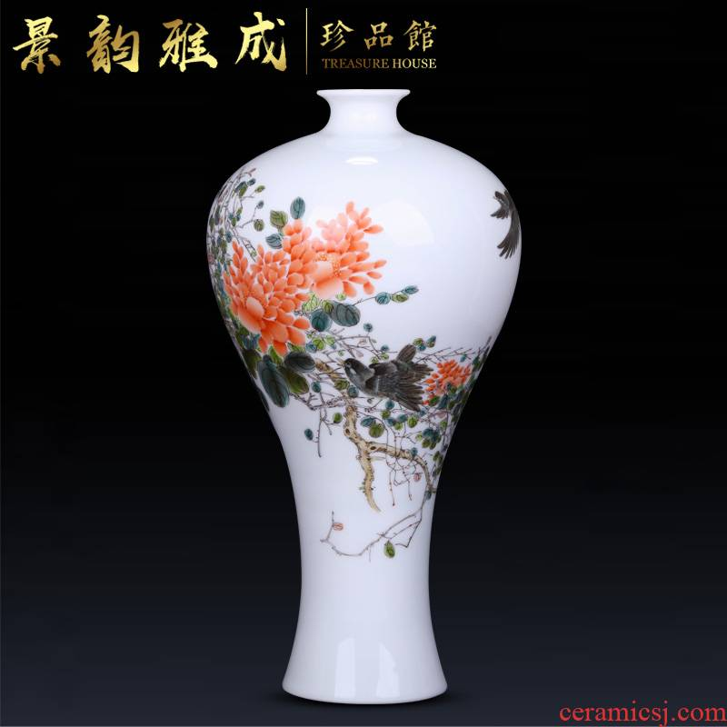 Jingdezhen ceramic rich ancient frame vase sitting room place, a new Chinese style table decoration flower arranging, ornament porcelain