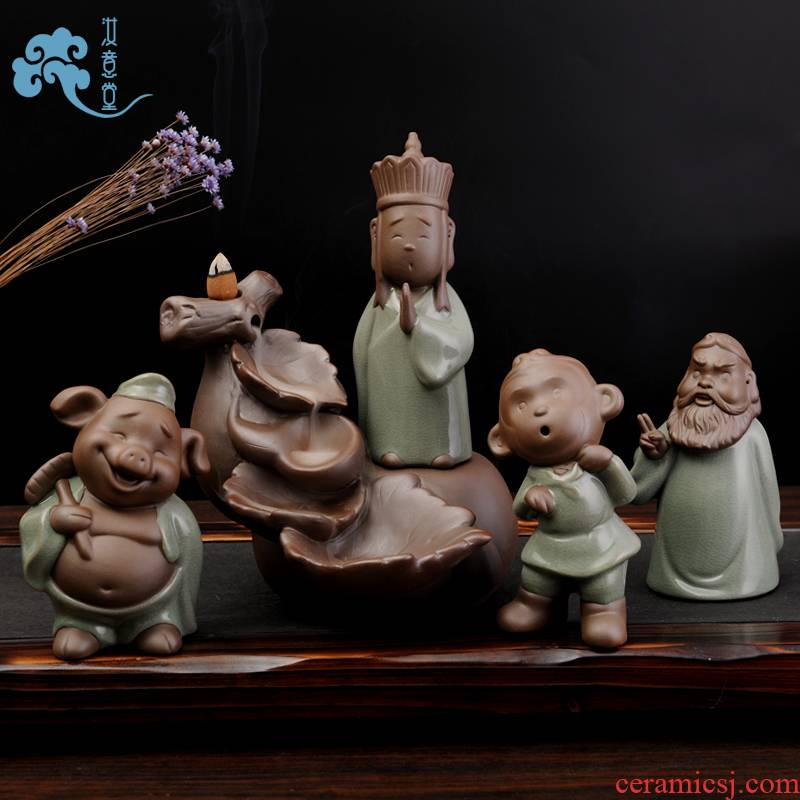 Creative journey to the west ceramics tea furnishing articles pet monkey to obtain buddhist scriptures pig tower sweet deep incense buner