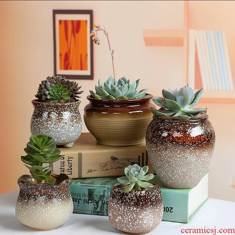 TaoXin language meaty plant pot snowflakes glaze ceramic other creative coarse pottery flowerpot oversized bracketplant, fleshy